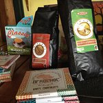 We sell coffee, tea and chocolate made in Malawi, and lots of other local suvenirs