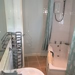 Bathroom of The Cottage, one of our two, 1 bedroom cottages at Higher Trewithen Holiday Cottages. Dogs welcome.