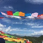 Beautiful skies and prayer flags everywhere