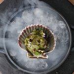 Conchas con Citronela del menú de degustación