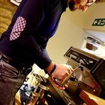 Our Italian barista doing his thing.
