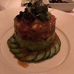Tuna tartare appetizer; hold the pita crisps