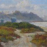 """Lasuen Lifeguard Stations,"" 10x20, original oil painting by San Clemente-based artist Rick J. Delanty.   www.delantyfineart.com"