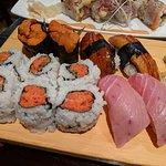 Uni, unagi, spicy tuna, and fatty tuna nigri