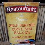 Banner na entrada do restaurante