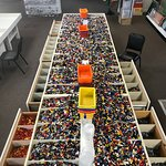 Over 2,000 lbs of pick-a-brick, the drawers are even sorted by color.