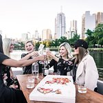 Cheers! An afternoon on the Yarra River with the girls and some pizzas.