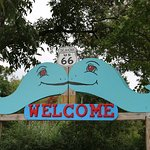 The Blue Whale welcome sign.