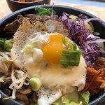 Bibimbap (mix of rice, veg, beef, fried egg and chilli sauce)
