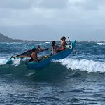 Our teens wave surfing with our guide, David.  (Adventurous but not dangerous)