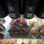 Tr our Blueberry Muffins & Caramel Fudge Brownie.