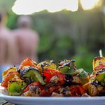 BBQ dishes , pool party