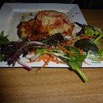 Chicken parma dry & burnt sound edges, chips were good, salad ok.