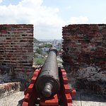 Many Many Cannons to defend from land and Sea attacks cross fire fields were set up to catch the enemy from two side.