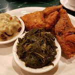 Fried Chicken, stuffing & collard greens