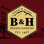 Brown and Hawkins 2018 Logo with historic Image in background.