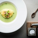 Pea Soup with Fried Poached Egg