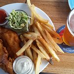 fish and chips with local beer