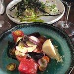Mozzarella, tomato and watermelon salad