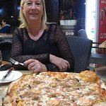 Seafood XL pizza and wife for scale!
