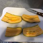 We had a contest of who could slice the plantain most evenly.  I lost. :)