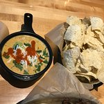 green chili queso and chips
