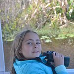 Binoculars at the ready to see wildlife that might be hiding!
