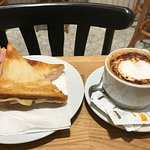 Breakfast - Bikini Sandwich and coffee
