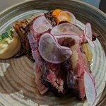 Rare beef rump with truffle mayo and egg yolk