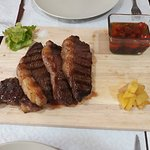 Delicious Argentinan Rump steak slices (250 gr.) grilled with Pine apple home made hot and not sauces