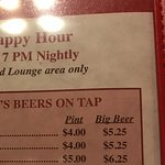 Part of the HH drink menu