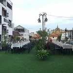 Our rooftop restaurant with a beautiful view of Wat lanka...
