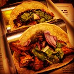 Three soft corn tortillas, grilled & filled with grilled chicken & avocadowith ancho rub, guaca