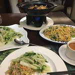 Clay pot bean curd with mixed vegetables, baby cabbage, egg & vegetable fried rice