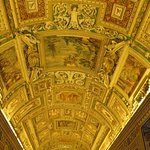 There are other ceilings with works of art as you make your way into the Sistine Chapel. Unlike