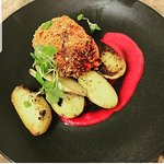 Vegetable croquette, sauteed potatoes, beetroot puree