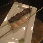 lamb skewer and hotate (sea scallop)
