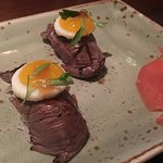 Wagyu beef and quail egg nigiri