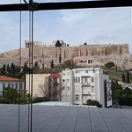 View of the Acropolis from inside the Acropolis Museum