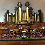The organ, choir, and alter area of The Tabernacle in Temple Square in Salt Lake City, Utah.