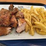 Frango na Brasa (grilled chicken) with nice sized fries (seasoned)