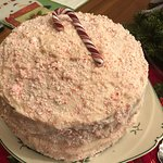 Vanilla pudding cake with peppermint frosting