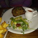 Nut Roast with chips and vegetables (not in picture)