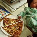 Our 1 day old introduced to Old Garage Pizza