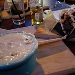 Homemade piping hot ham and potato soup and a prime rib taco