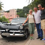 Here we are with our driver Luis and his cool sedan!