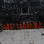 The monks doing their ceremonial processing