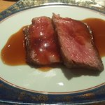 Waygu beef cooked to the perfect medium rare for me.