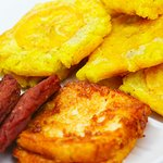 Tostones, Salami & Fried Cheese