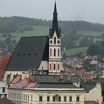 Beautiful church spires and green hills